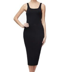 Square Necked Rouched Dress BLACK